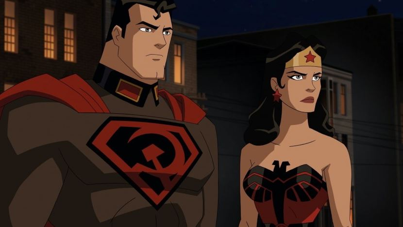 Batman with an earflap and Stalin in the first trailer for Superman. Red son ""
