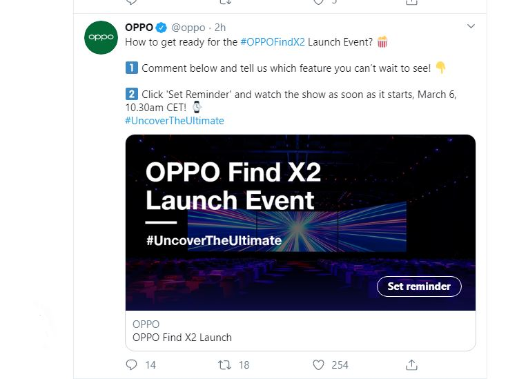 OPPO Find X2 announces 120Hz screen details
