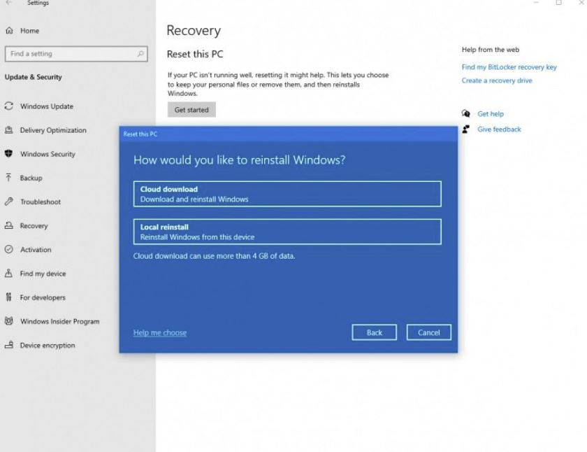 window 10 recovery options