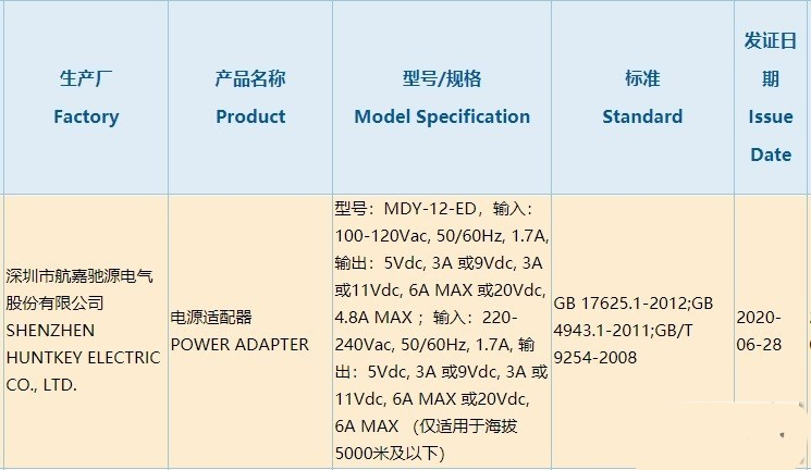 Xiaomi's 120W fast charging mobile phone passed 3C certification